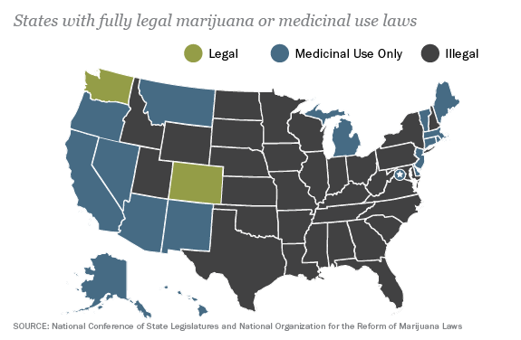 Map The Legal State Of Marijuana Pew Research Center