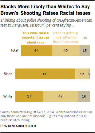 Blacks More Likely than Whites to Say Brown's Shooting Raises Racial Issues