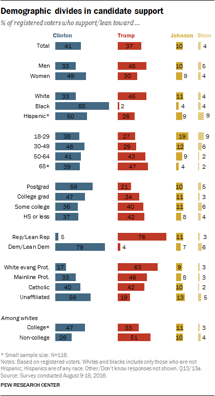 Demographic divides in candidate support