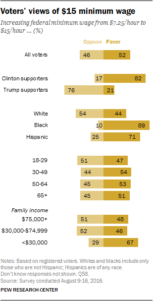 Voters' views of the $15 minimum wage