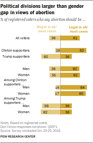 Political divisions larger than gender gap in views of abortion