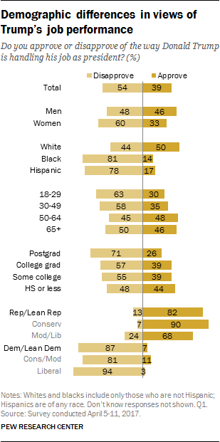 Demographic differences in views of Trump's job performance
