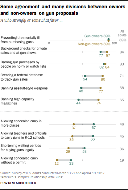 Some agreement and many divisions between owners and non-owners on gun proposals