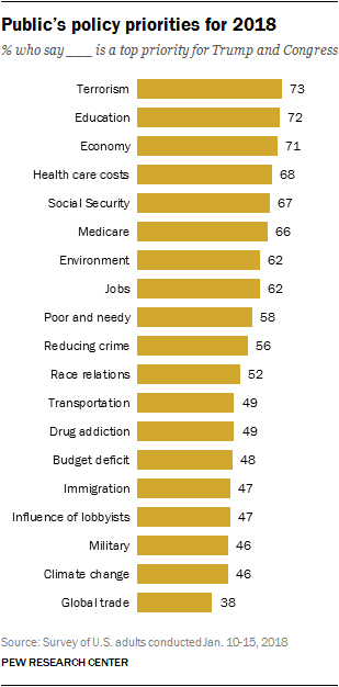 Public's policy priorities for 2018