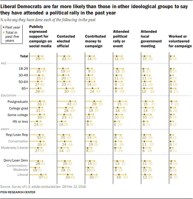 Liberal Democrats are far more likely than those in other ideological groups to say they have attended a political rally in the past year