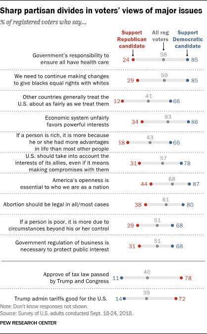 Sharp partisan divides in voters' views of major issues