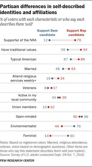 Partisan differences in self-described identities and affiliations