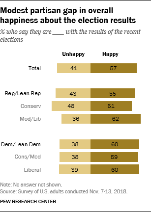 Modest partisan gap in overall happiness about the election results