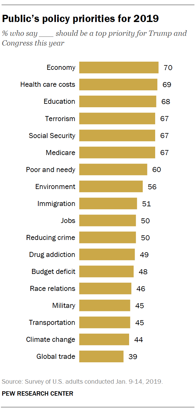 Public's policy priorities for 2019