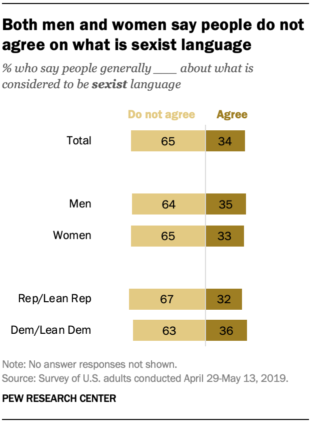 Both men and women say people do not agree on what is sexist language