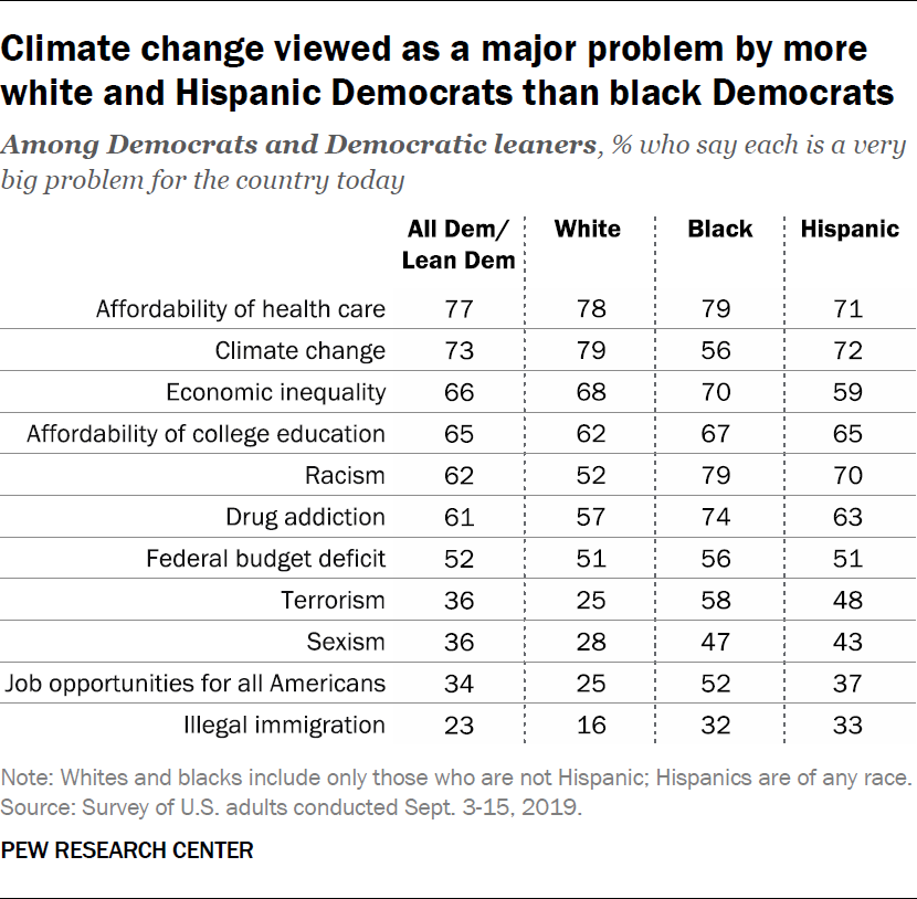 Climate change viewed as a major problem by more white and Hispanic Democrats than black Democrats