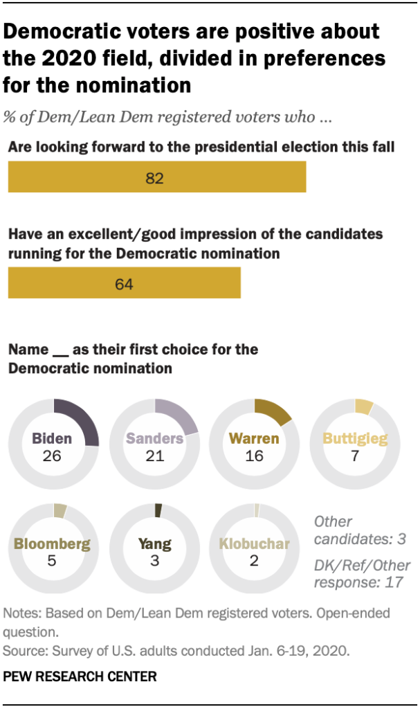 Chart shows Democratic voters are positive about the 2020 field, divided in preferences for the nomination