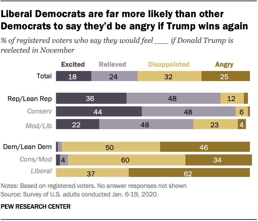 Chart shows liberal Democrats are far more likely than other Democrats to say they'd be angry if Trump wins again