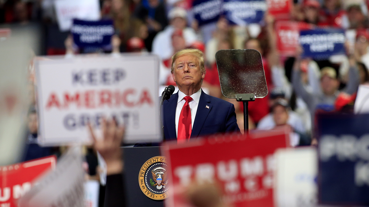 President Trump speaks to supporters during a rally on March 2 in Charlotte, North Carolina. (Brian Blanco/Getty Images)
