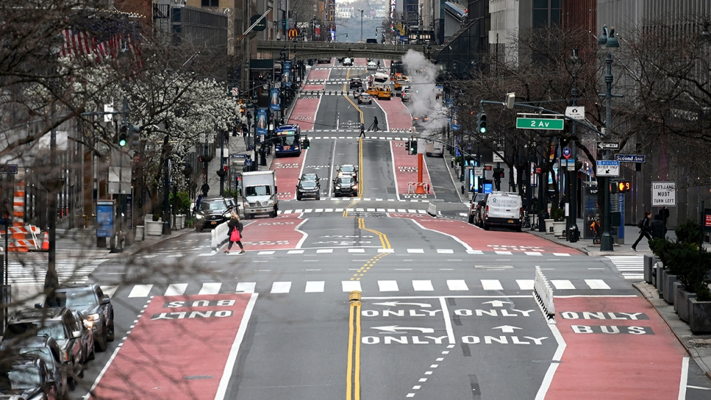 A nearly empty 42nd Street in New York City on March 25. (Angela Weiss/AFP via Getty Images)