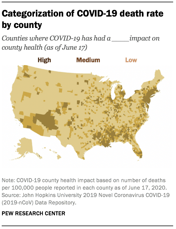 Categorization of COVID-19 death rate by county